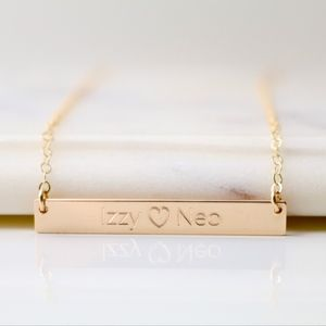 Jewelry - 14K Gold Filled Couples Engraved Name Necklace